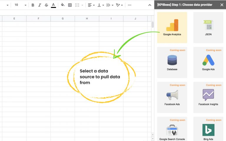 Authorize Google Analytics with Google Sheets