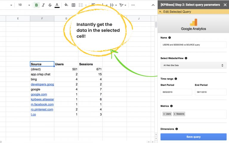 Get Analytics data in a spreadsheet cell