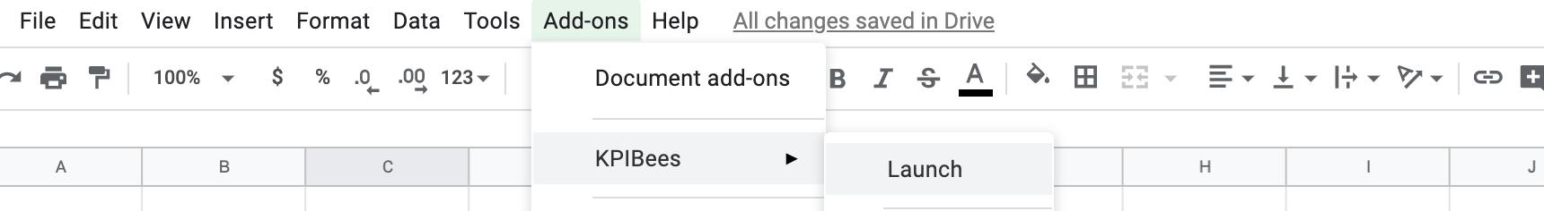 Google Sheet Add-on location toolbar.